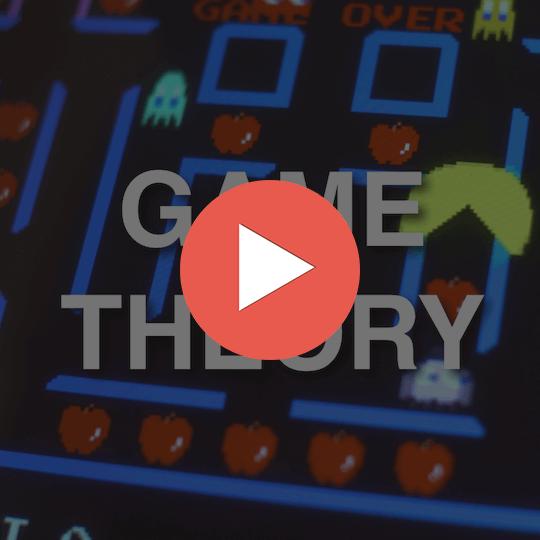 90秒で分かるゲーム理論のナッシュ均衡って何?のコース画像。中央にゲーム理論と書いてある。