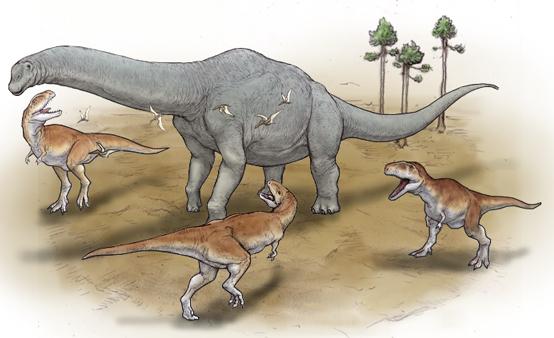 体の下に足が真っすぐ伸びた恐竜のイラスト