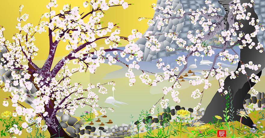 Excelで描かれた美しい桜の絵