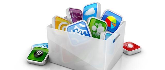 スマートフォンアプリのアイコンがたくさん詰め込まれた箱の画像