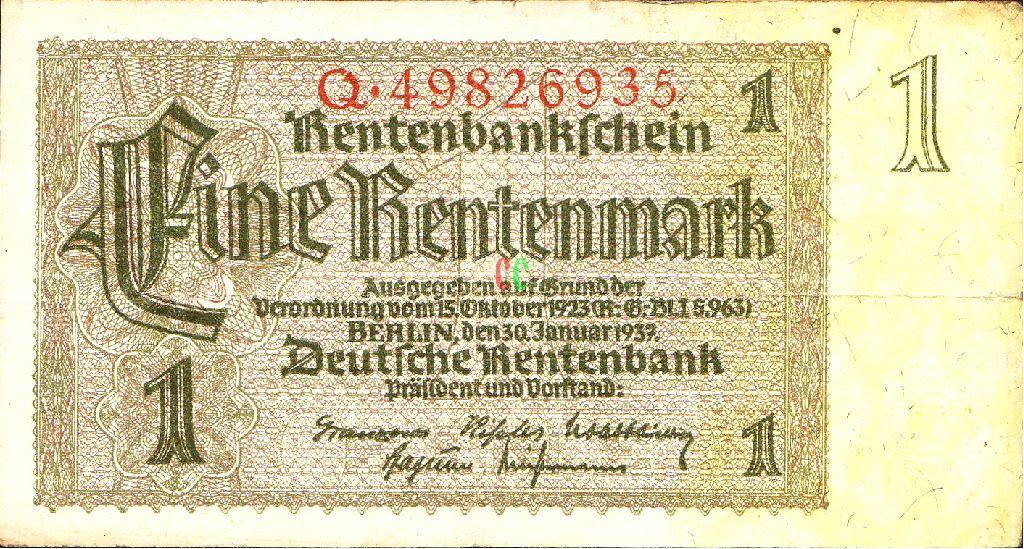 レンテンマルクの紙幣の画像