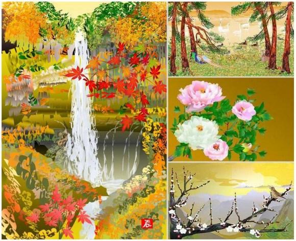 Excelのオートシェイプで描かれた日本画の画像