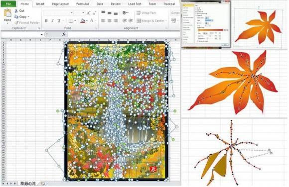 Excelで描かれた日本画のオートシェイプ表示