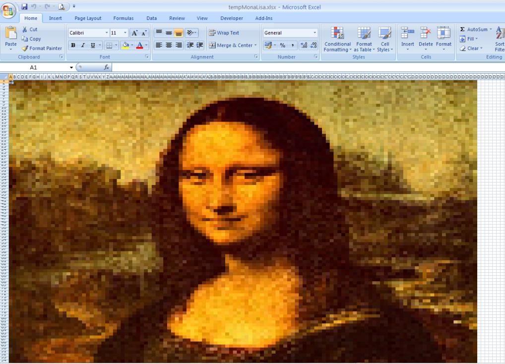 Excelで描かれたモナリザの画像
