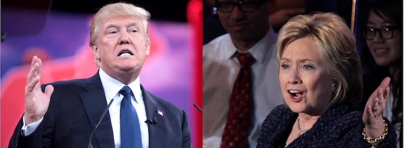 トランプとヒラリー・クリントンの画像