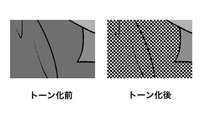 トーン化前とトーン化後の比較画像
