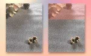 背景を三分割法を意識して配置したスマホ撮影画像。右側の画像では縦の三分割を強調している。