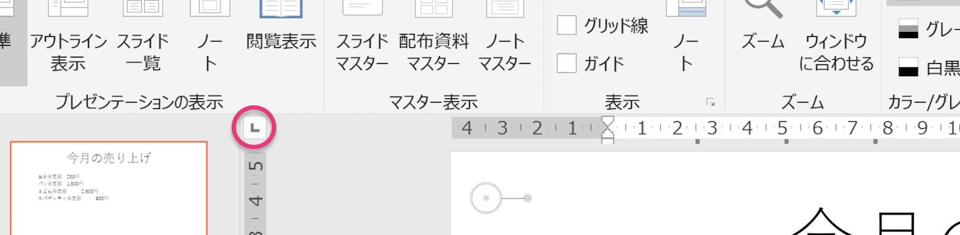 ルーラの左上に表示さえるタブの種類を表すアイコンをハイライトしたPowerPointのスクリーンショット画像