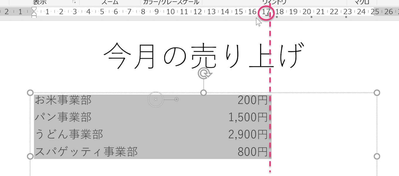 水平ルーラをクリックして数字を右揃えに表示させたところのPowerPointのスクリーンショット画像