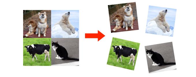Photoshopで1枚の画像をスライス機能で複数に分割している画像