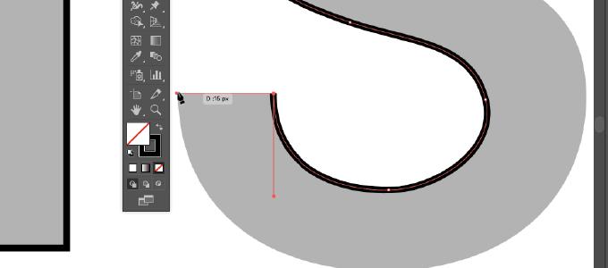 ベジェ曲線の練習のためにアルファベットのSの字の先端部分でaltキーを押しながら方向線を折り曲げたときのIllustratorのスクリーンショット画像